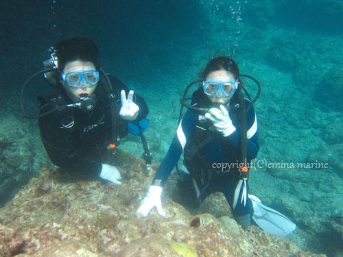 体験ダイビングのカップル