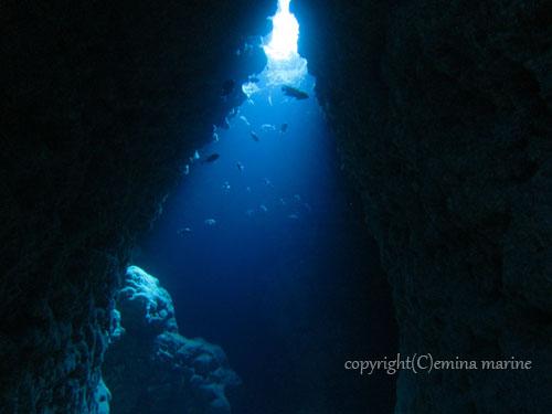 ツインケーブ洞窟内の光