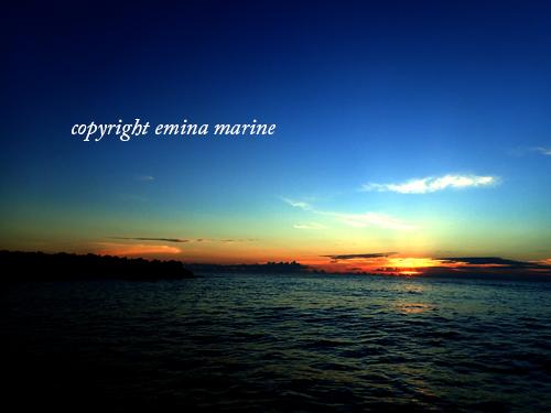 ボートから見る夕日